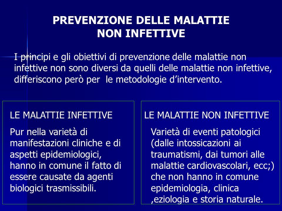 PREVENZIONE DELLE MALATTIE NON INFETTIVE I principi e gli obiettivi di prevenzione delle malattie non infettive non sono diversi da quelli delle malattie non infettive, differiscono però per le metodologie d'intervento.