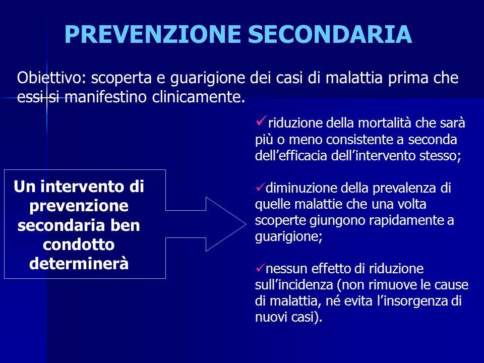 PREVENZIONE SECONDARIA Obiettivo: scoperta e guarigione dei casi di malattia prima che essi si manifestino clinicamente.