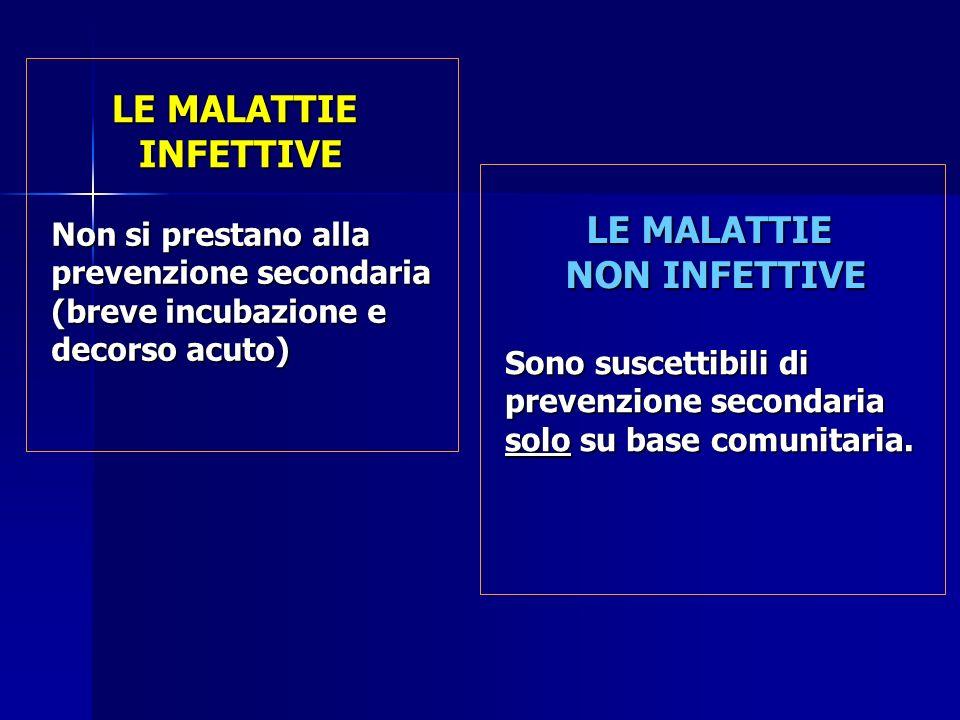 LE MALATTIE NON INFETTIVE Non si prestano alla prevenzione secondaria (breve incubazione e decorso acuto) Sono suscettibili di prevenzione secondaria solo su base comunitaria.