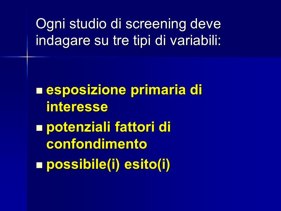 Ogni studio di screening deve indagare su tre tipi di variabili: esposizione primaria di interesse esposizione primaria di interesse potenziali fattori di confondimento potenziali fattori di confondimento possibile(i) esito(i) possibile(i) esito(i)