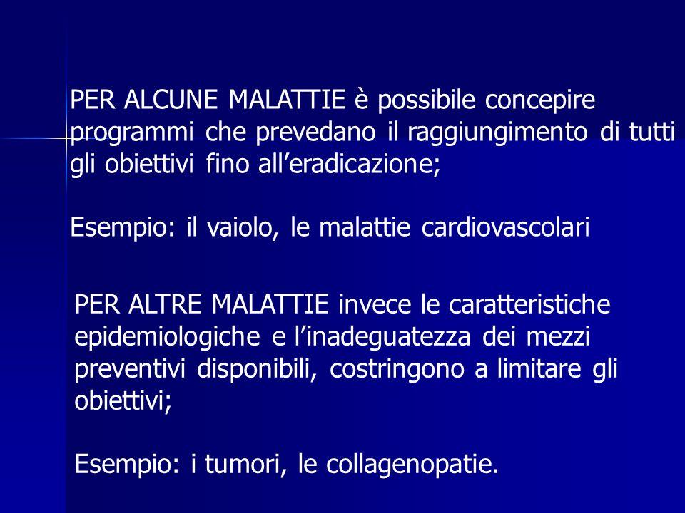 PER ALTRE MALATTIE invece le caratteristiche epidemiologiche e l'inadeguatezza dei mezzi preventivi disponibili, costringono a limitare gli obiettivi; Esempio: i tumori, le collagenopatie.