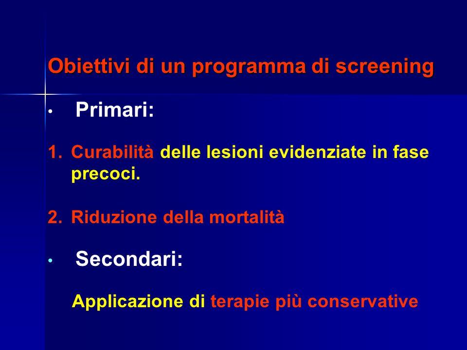 Obiettivi di un programma di screening Primari: 1.Curabilità delle lesioni evidenziate in fase precoci.