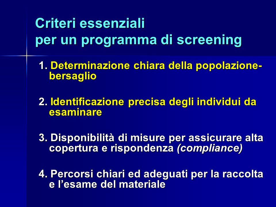 Criteri essenziali per un programma di screening 1.