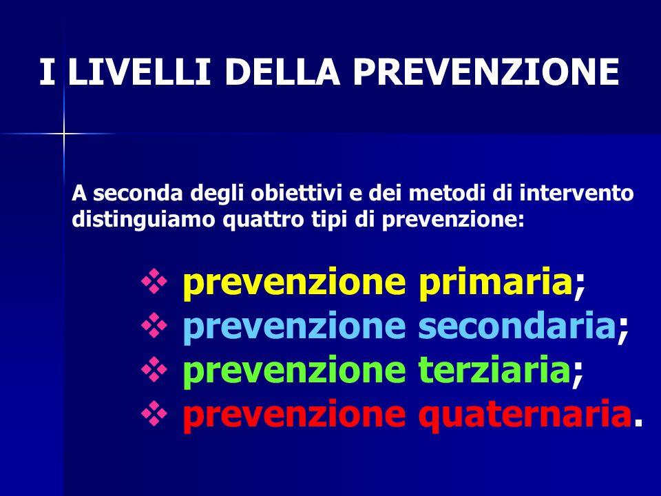 I LIVELLI DELLA PREVENZIONE A seconda degli obiettivi e dei metodi di intervento distinguiamo quattro tipi di prevenzione:  prevenzione primaria;  prevenzione secondaria;  prevenzione terziaria;  prevenzione quaternaria.