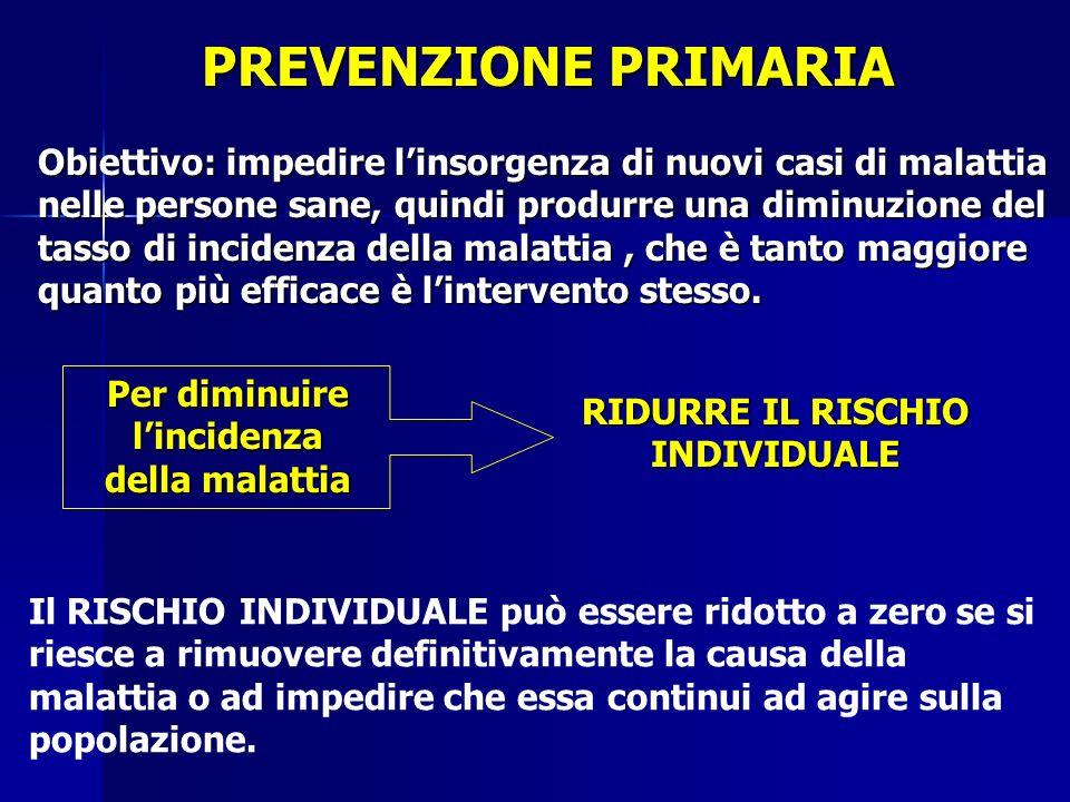 PREVENZIONE PRIMARIA Obiettivo: impedire l'insorgenza di nuovi casi di malattia nelle persone sane, quindi produrre una diminuzione del tasso di incidenza della malattia, che è tanto maggiore quanto più efficace è l'intervento stesso.