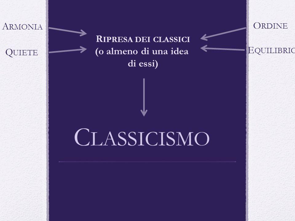 C LASSICISMO R IPRESA DEI CLASSICI (o almeno di una idea di essi) A RMONIA Q UIETE E QUILIBRIO O RDINE