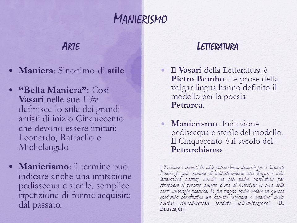 """M ANIERISMO A RTE Maniera: Sinonimo di stile """"Bella Maniera"""": Così Vasari nelle sue Vite definisce lo stile dei grandi artisti di inizio Cinquecento c"""