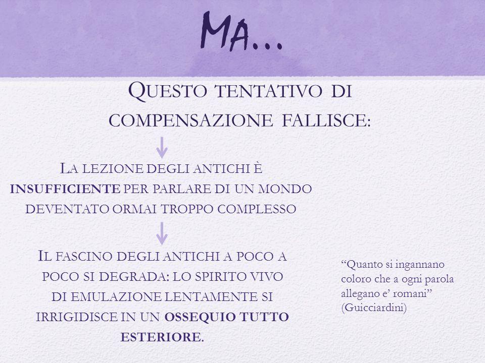 M A... Q UESTO TENTATIVO DI COMPENSAZIONE FALLISCE : L A LEZIONE DEGLI ANTICHI È INSUFFICIENTE PER PARLARE DI UN MONDO DEVENTATO ORMAI TROPPO COMPLESS