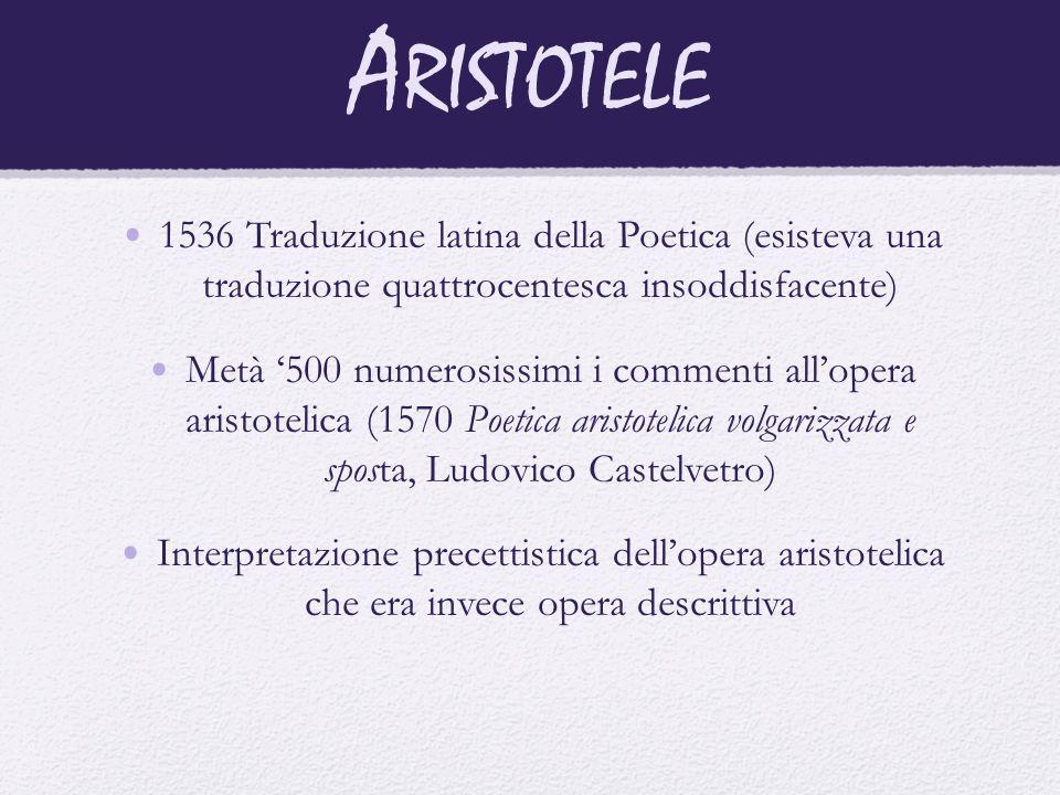 A RISTOTELE 1536 Traduzione latina della Poetica (esisteva una traduzione quattrocentesca insoddisfacente) Metà '500 numerosissimi i commenti all'oper