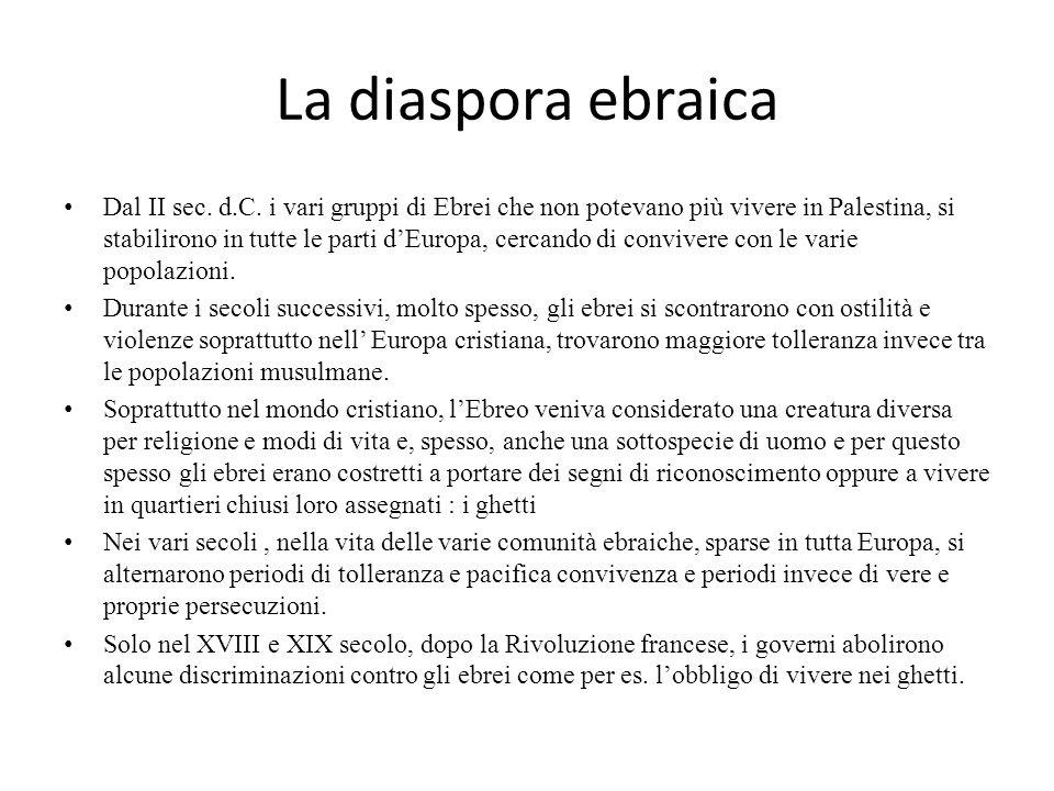 La diaspora ebraica Dal II sec. d.C. i vari gruppi di Ebrei che non potevano più vivere in Palestina, si stabilirono in tutte le parti d'Europa, cerca