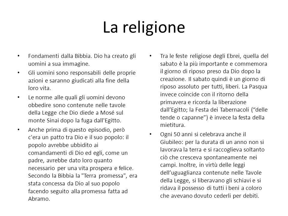 La religione Fondamenti dalla Bibbia. Dio ha creato gli uomini a sua immagine. Gli uomini sono responsabili delle proprie azioni e saranno giudicati a