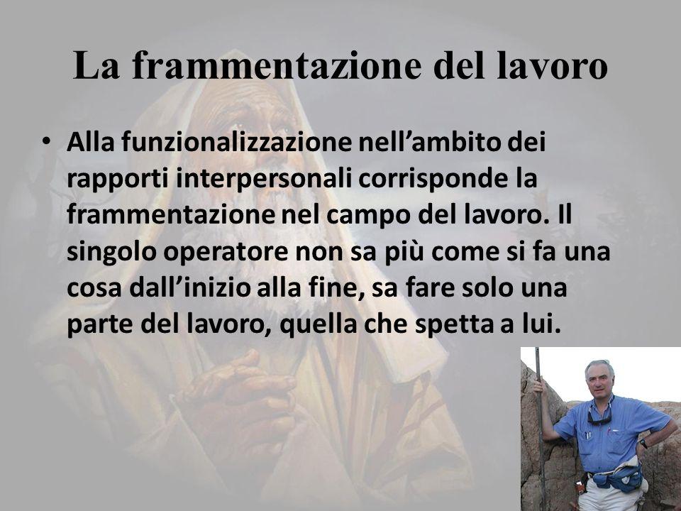 La frammentazione del lavoro Alla funzionalizzazione nell'ambito dei rapporti interpersonali corrisponde la frammentazione nel campo del lavoro.