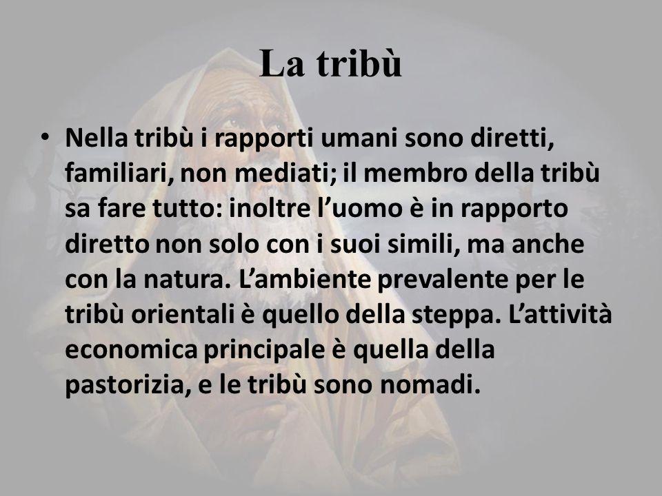 La tribù Nella tribù i rapporti umani sono diretti, familiari, non mediati; il membro della tribù sa fare tutto: inoltre l'uomo è in rapporto diretto non solo con i suoi simili, ma anche con la natura.