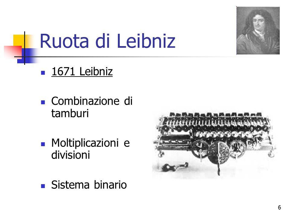 6 Ruota di Leibniz 1671 Leibniz Combinazione di tamburi Moltiplicazioni e divisioni Sistema binario