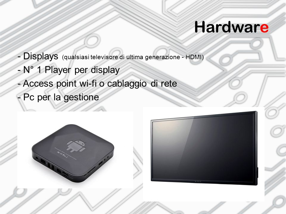 Hardware - Displays (qualsiasi televisore di ultima generazione - HDMI) - N° 1 Player per display - Access point wi-fi o cablaggio di rete - Pc per la
