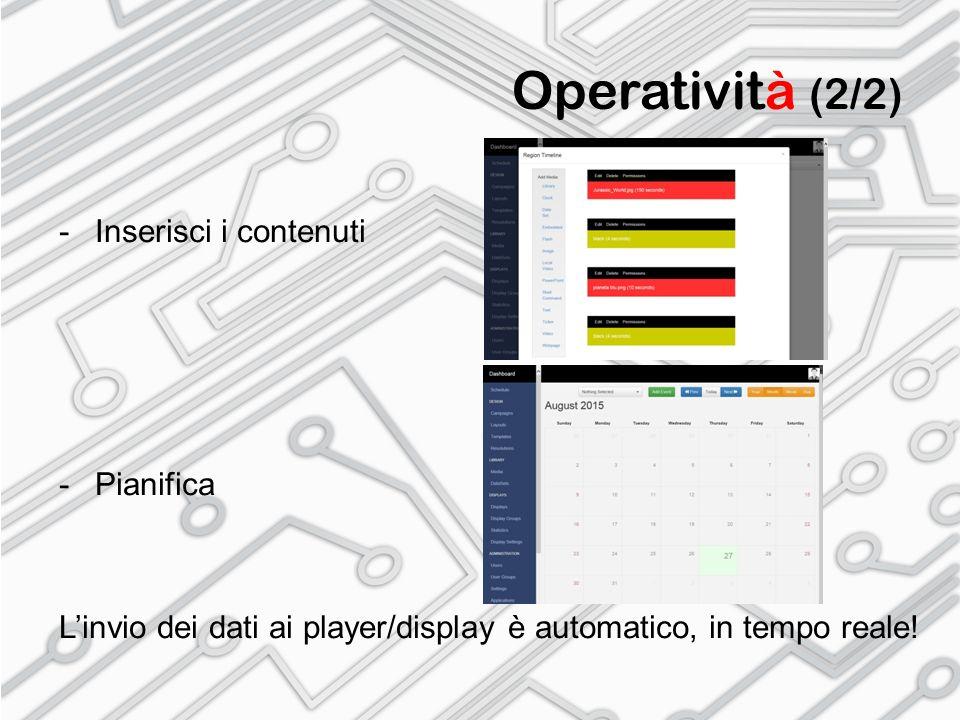 Operatività (2/2) -Inserisci i contenuti -Pianifica L'invio dei dati ai player/display è automatico, in tempo reale!