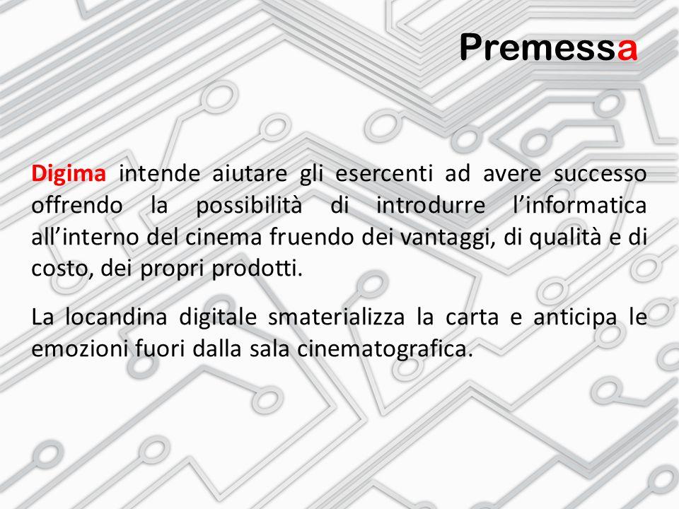 Premessa Digima intende aiutare gli esercenti ad avere successo offrendo la possibilità di introdurre l'informatica all'interno del cinema fruendo dei vantaggi, di qualità e di costo, dei propri prodotti.