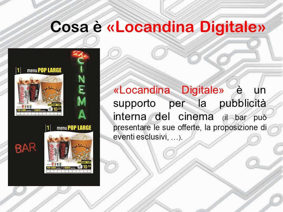 Cosa è «Locandina Digitale» «Locandina Digitale» è un supporto per la pubblicità interna del cinema ( il bar può presentare le sue offerte, la proposizione di eventi esclusivi, … ).