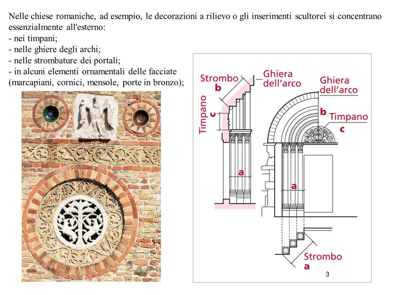3 Nelle chiese romaniche, ad esempio, le decorazioni a rilievo o gli inserimenti scultorei si concentrano essenzialmente all'esterno: - nei timpani; -