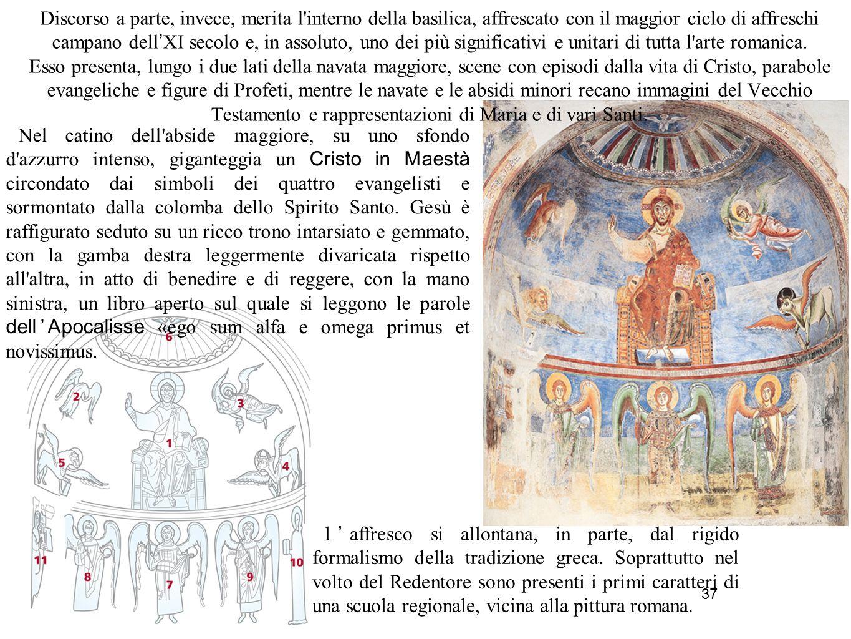 37 Discorso a parte, invece, merita l'interno della basilica, affrescato con il maggior ciclo di affreschi campano dell ' XI secolo e, in assoluto, un
