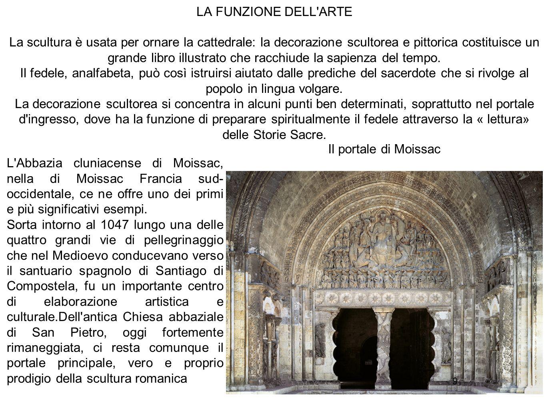 9 LA FUNZIONE DELL'ARTE La scultura è usata per ornare la cattedrale: la decorazione scultorea e pittorica costituisce un grande libro illustrato che