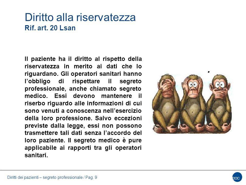 Diritti dei pazienti – segreto professionale / Pag.