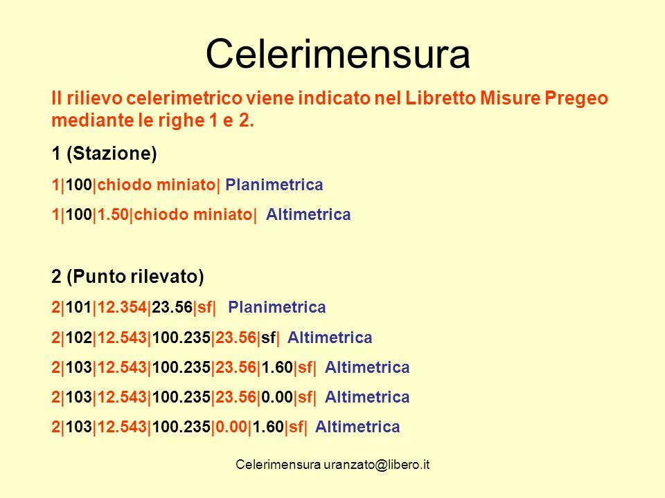 Celerimensura uranzato@libero.it Celerimensura Il rilievo celerimetrico viene indicato nel Libretto Misure Pregeo mediante le righe 1 e 2. 1 (Stazione