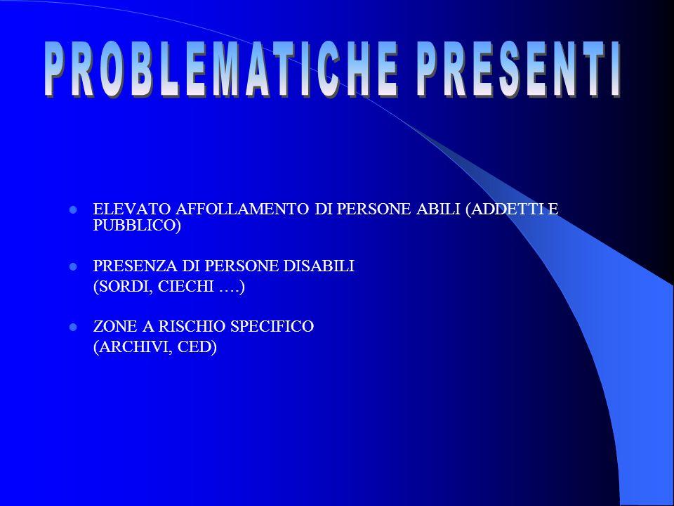 ELEVATO AFFOLLAMENTO DI PERSONE ABILI (ADDETTI E PUBBLICO) PRESENZA DI PERSONE DISABILI (SORDI, CIECHI ….) ZONE A RISCHIO SPECIFICO (ARCHIVI, CED)