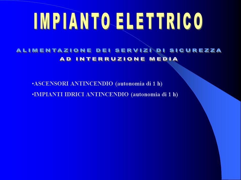 ASCENSORI ANTINCENDIO (autonomia di 1 h) IMPIANTI IDRICI ANTINCENDIO (autonomia di 1 h)