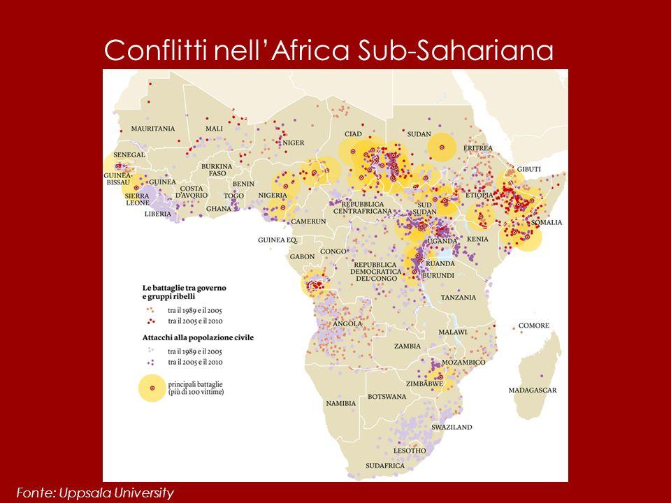 Conflitti nell'Africa Sub-Sahariana Fonte: Uppsala University