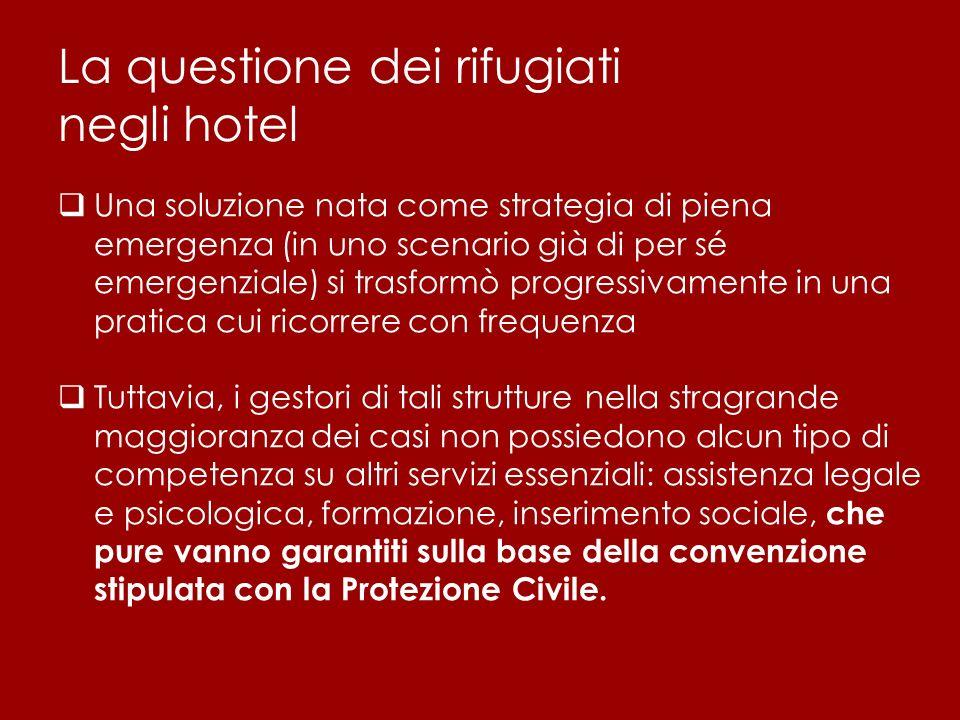 La questione dei rifugiati negli hotel  Una soluzione nata come strategia di piena emergenza (in uno scenario già di per sé emergenziale) si trasform