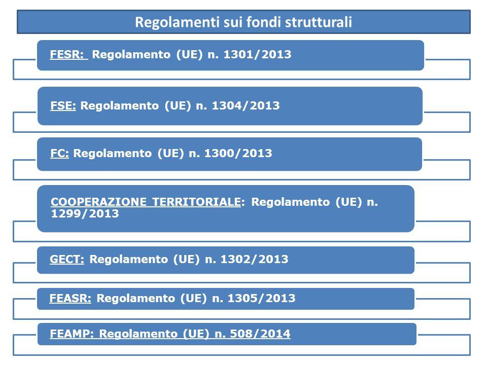 FESR: Regolamento (UE) n.1301/2013 FSE: Regolamento (UE) n.