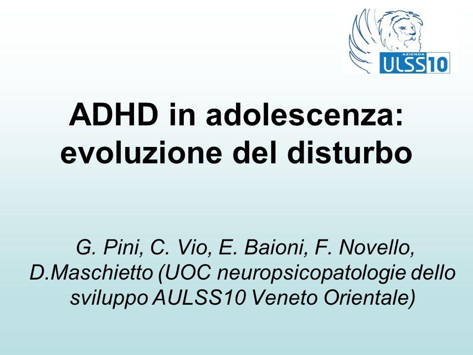ADHD in adolescenza: evoluzione del disturbo G. Pini, C. Vio, E. Baioni, F. Novello, D.Maschietto (UOC neuropsicopatologie dello sviluppo AULSS10 Vene