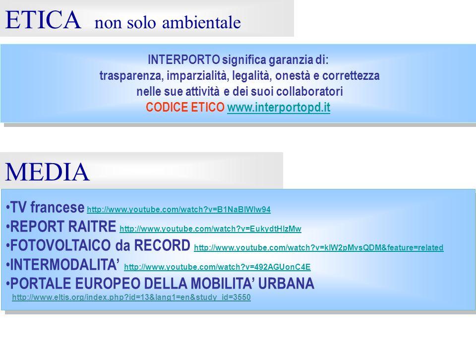 ETICA non solo ambientale INTERPORTO significa garanzia di: trasparenza, imparzialità, legalità, onestà e correttezza nelle sue attività e dei suoi co