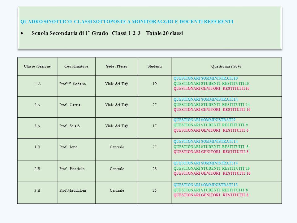 QUADRO SINOTTICO CLASSI SOTTOPOSTE A MONITORAGGIO E DOCENTI REFERENTI  Scuola Secondaria di 1° Grado Classi 1-2-3 Totale 20 classi QUADRO SINOTTICO C