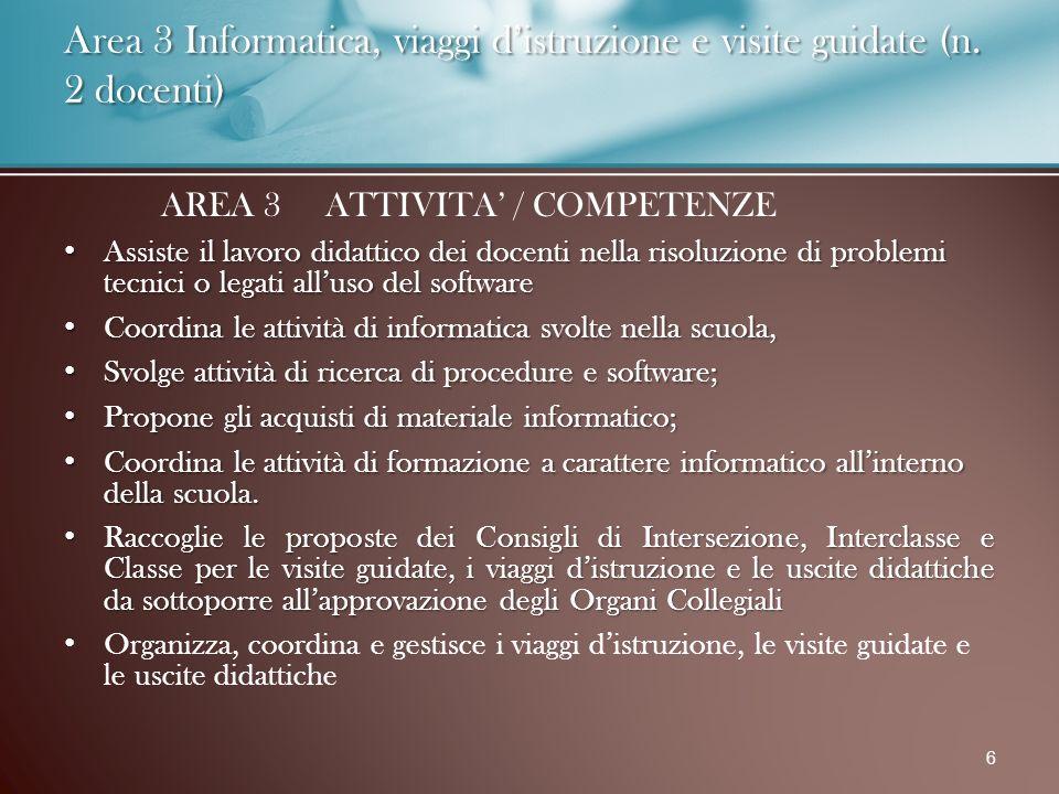 Area 3 Informatica, viaggi d'istruzione e visite guidate (n.