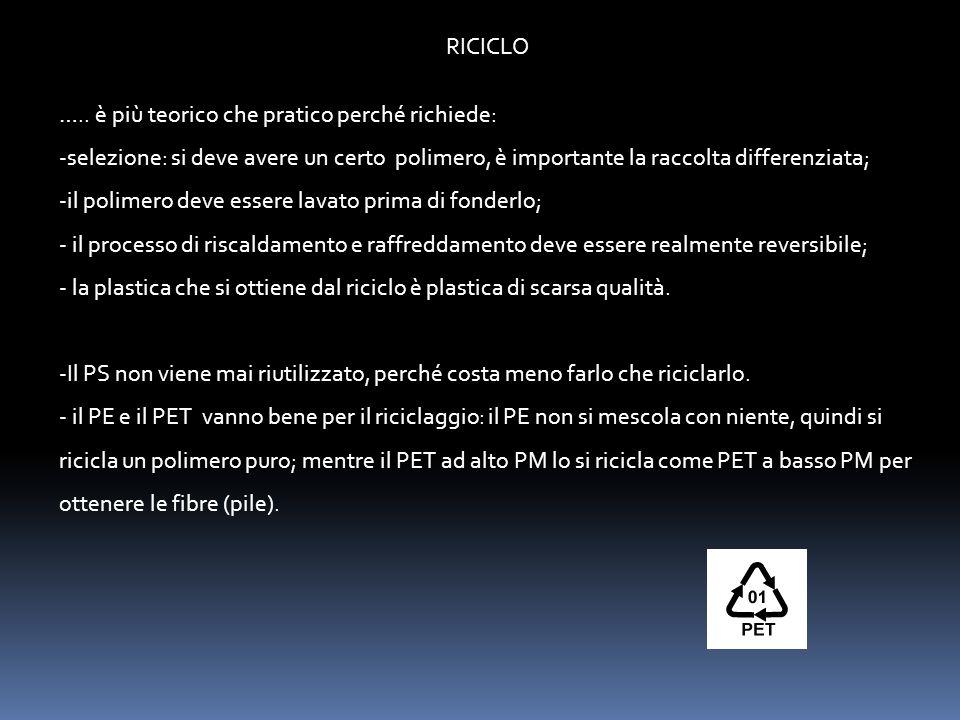 RICICLO ….. è più teorico che pratico perché richiede: -selezione: si deve avere un certo polimero, è importante la raccolta differenziata; -il polime