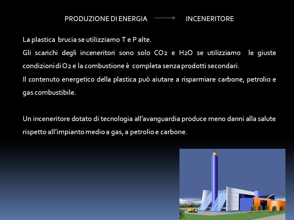 PRODUZIONE DI ENERGIA INCENERITORE La plastica brucia se utilizziamo T e P alte. Gli scarichi degli inceneritori sono solo CO2 e H2O se utilizziamo le
