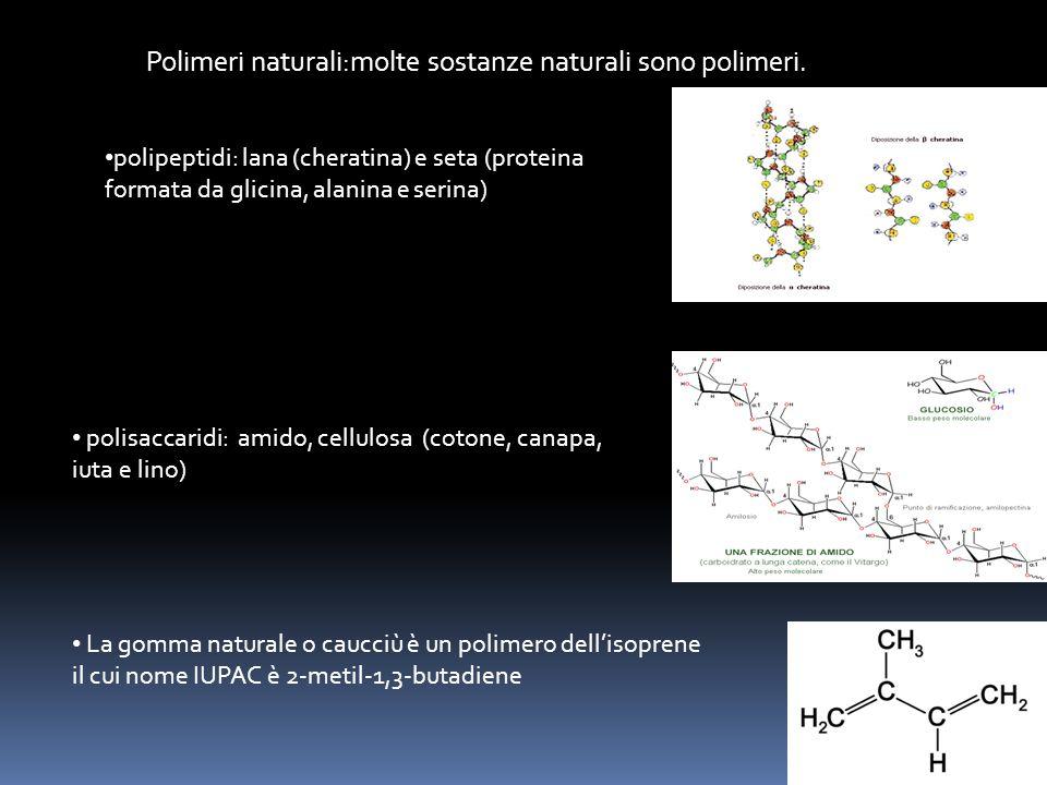 Polimeri naturali:molte sostanze naturali sono polimeri. La gomma naturale o caucciù è un polimero dell'isoprene il cui nome IUPAC è 2-metil-1,3-butad