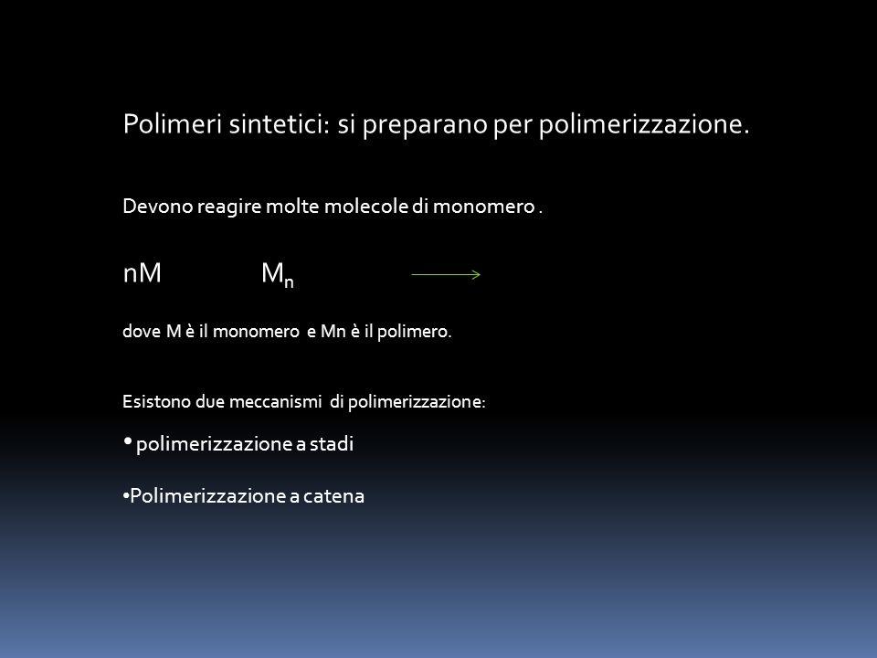 Polimeri sintetici: si preparano per polimerizzazione. Devono reagire molte molecole di monomero. nM M n dove M è il monomero e Mn è il polimero. Esis