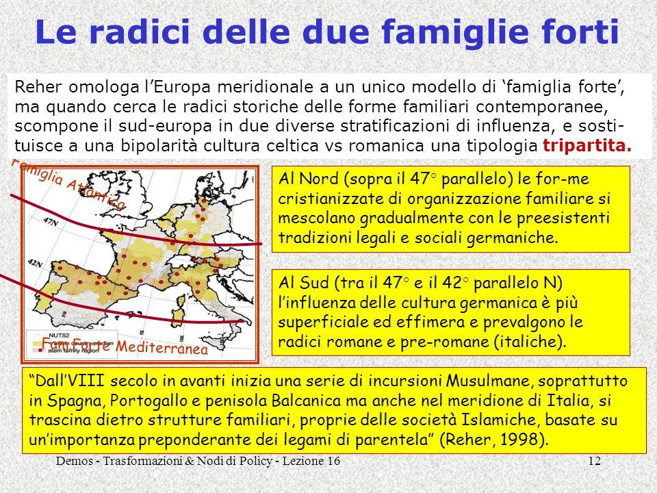 Demos - Trasformazioni & Nodi di Policy - Lezione 1612 Le radici delle due famiglie forti Al Nord (sopra il 47° parallelo) le for-me cristianizzate di