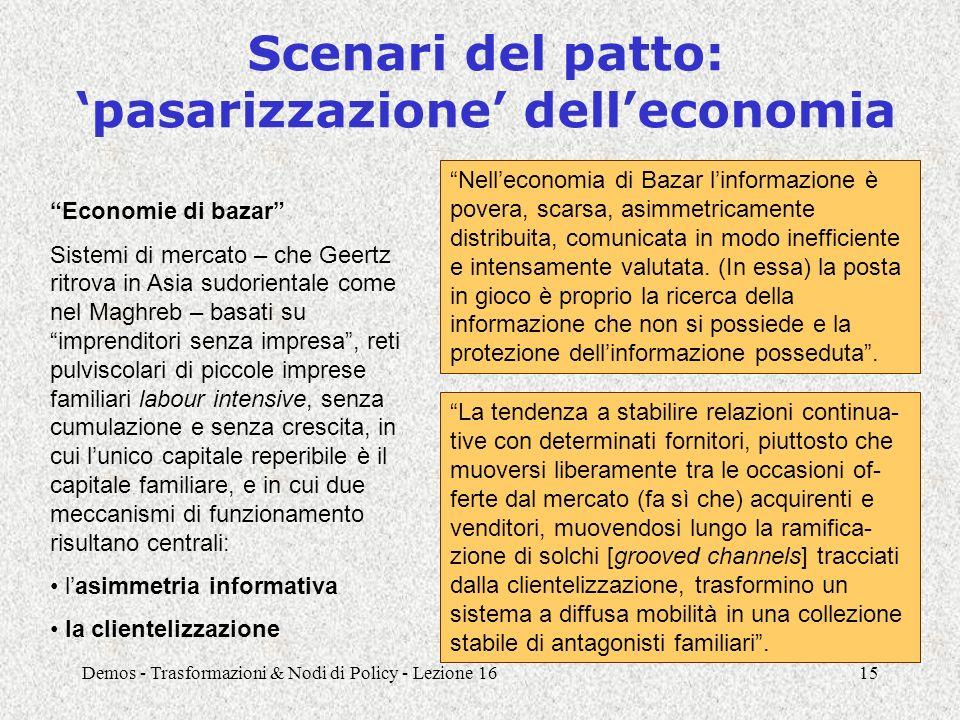 """Demos - Trasformazioni & Nodi di Policy - Lezione 1615 Scenari del patto: 'pasarizzazione' dell'economia """"Economie di bazar"""" Sistemi di mercato – che"""