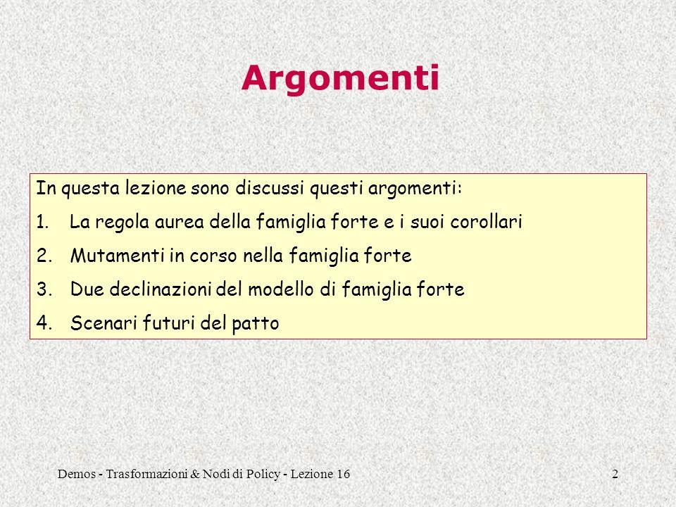 Demos - Trasformazioni & Nodi di Policy - Lezione 162 Argomenti In questa lezione sono discussi questi argomenti: 1.La regola aurea della famiglia for