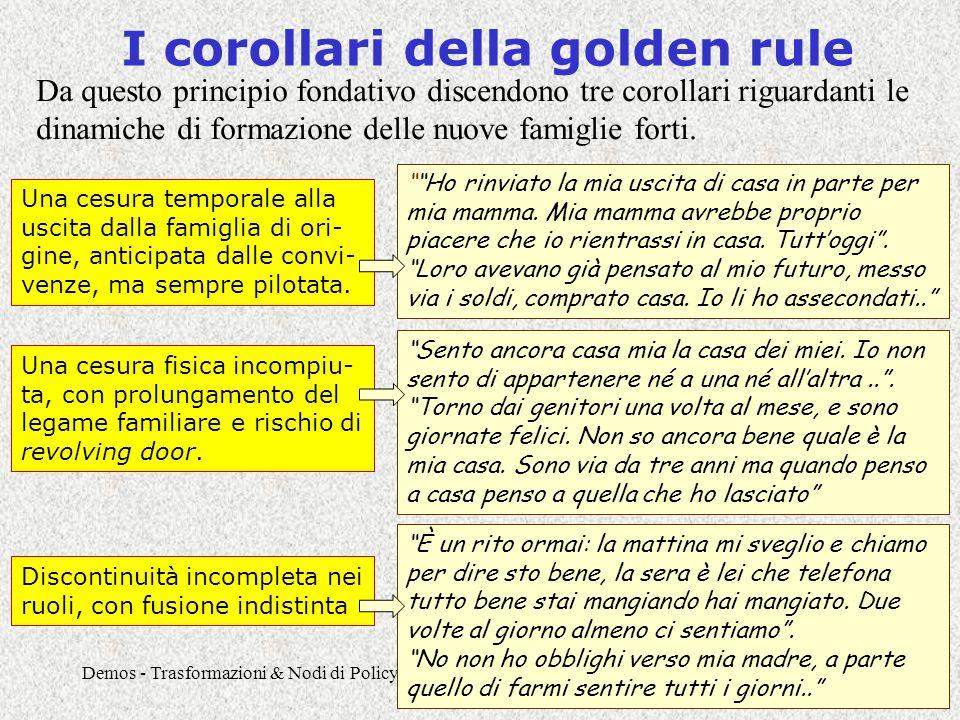 Demos - Trasformazioni & Nodi di Policy - Lezione 165 I corollari della golden rule Da questo principio fondativo discendono tre corollari riguardanti