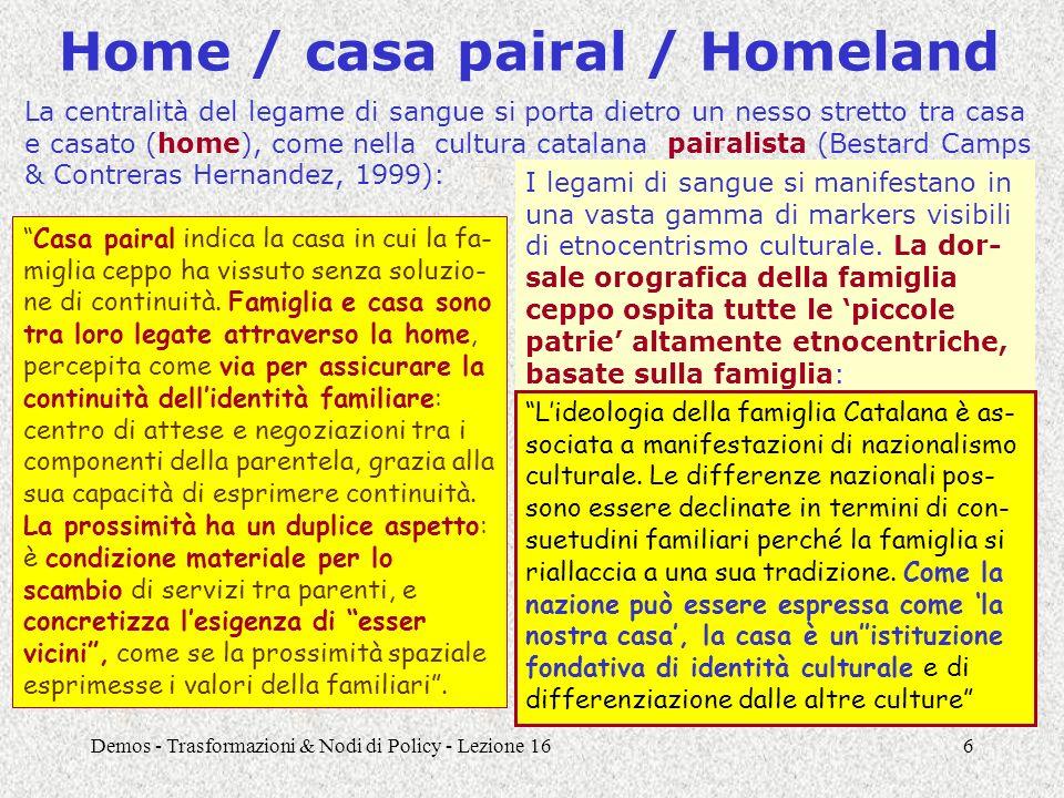 Demos - Trasformazioni & Nodi di Policy - Lezione 167 Mutamenti nella famiglia forte: neolocalismo e prossimità La prima è il vincolo di prossi- mità tra le due case, esplicita- mente giustificato con l'esi- genza di tenersi a disposizione Uscire di casa è una parola grossa.