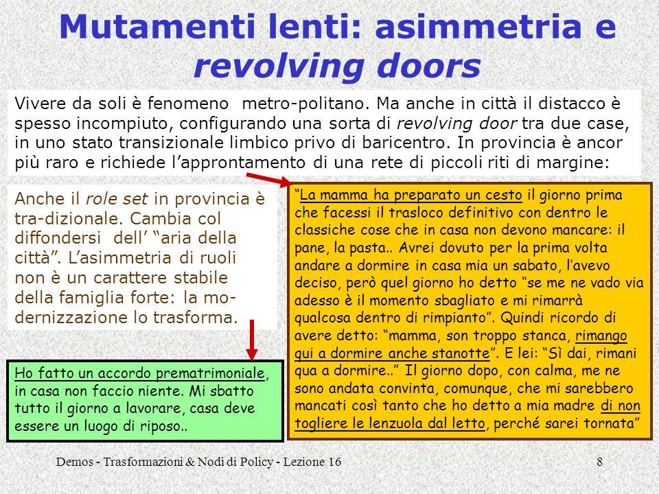 Demos - Trasformazioni & Nodi di Policy - Lezione 168 Mutamenti lenti: asimmetria e revolving doors Vivere da soli è fenomeno metro-politano. Ma anche