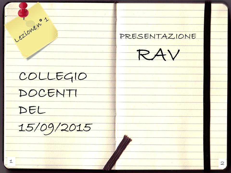 1 2 Lezione n° 1 COLLEGIO DOCENTI DEL 15/09/2015 PRESENTAZIONE RAV