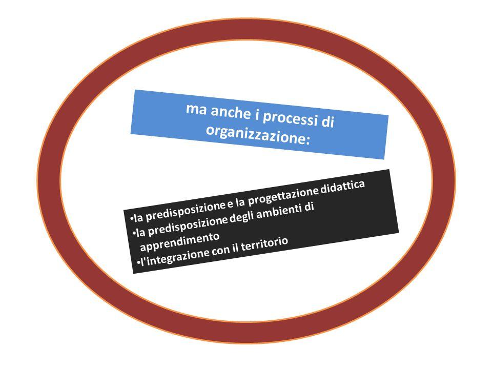 ma anche i processi di organizzazione: la predisposizione e la progettazione didattica la predisposizione degli ambienti di apprendimento l integrazione con il territorio