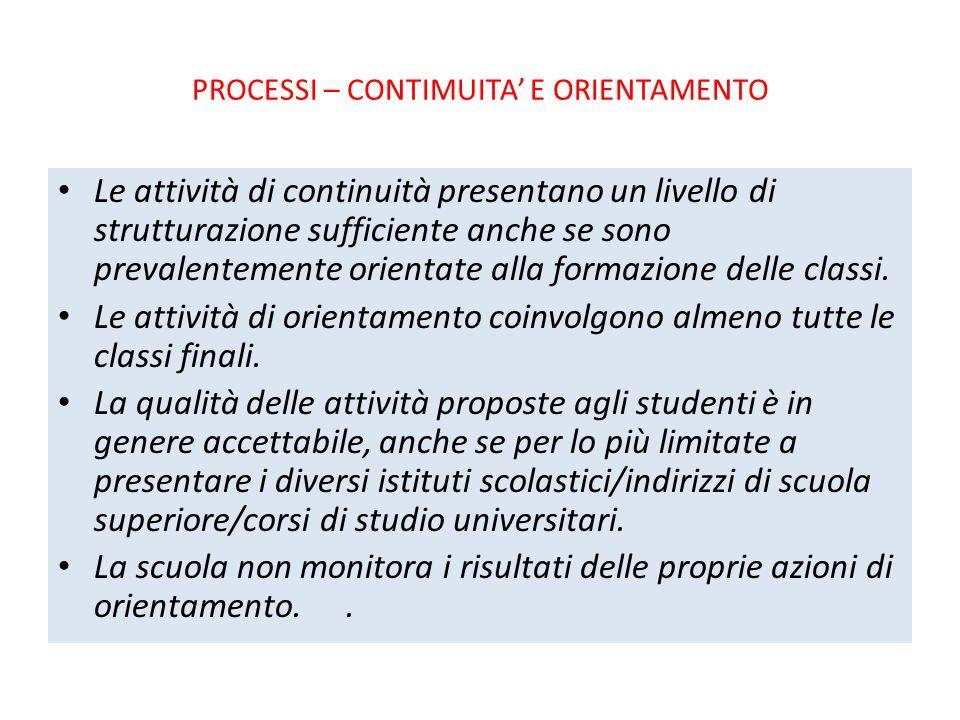 PROCESSI – CONTIMUITA' E ORIENTAMENTO Le attività di continuità presentano un livello di strutturazione sufficiente anche se sono prevalentemente orientate alla formazione delle classi.