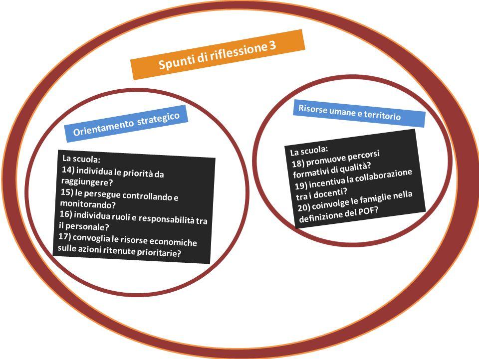 Spunti di riflessione 3 La scuola: 14) individua le priorità da raggiungere? 15) le persegue controllando e monitorando? 16) individua ruoli e respons